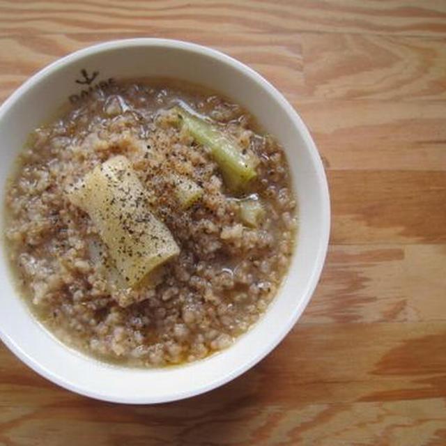 ねぎと玄米のおかゆスープ