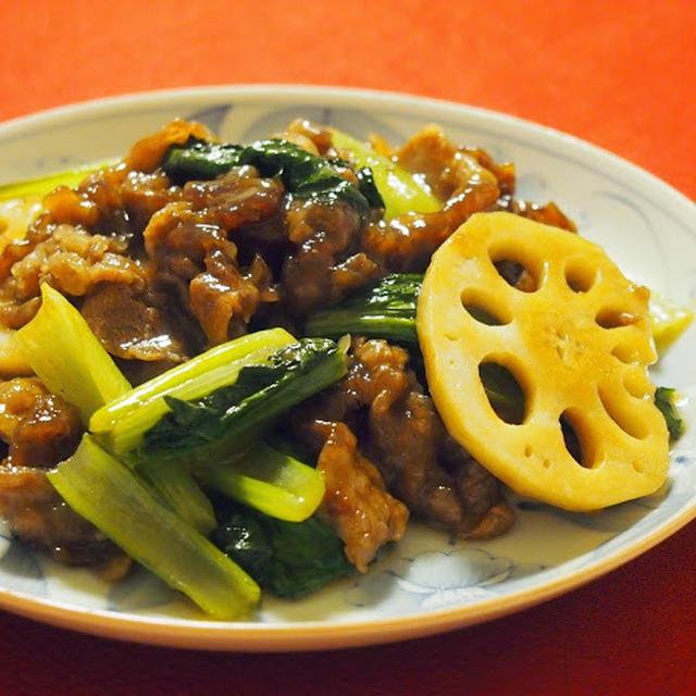 牛肉と小松菜の甘辛オイスター醤油炒め