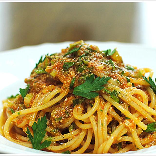 セロリとポモドーロの冷製スパゲッティ