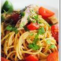 炙りしめ鯖の冷製スパゲッティ、バルサミコ風味
