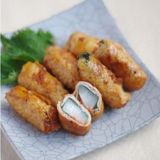 長芋と梅しその豚肉巻きで、お弁当
