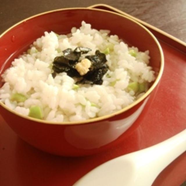 お茶漬百景 十三景 【枝豆と茗荷の混ぜご飯の冷茶漬け 生姜の風味で】