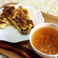 バナナフレンチトーストとトマトスープで朝ごはん