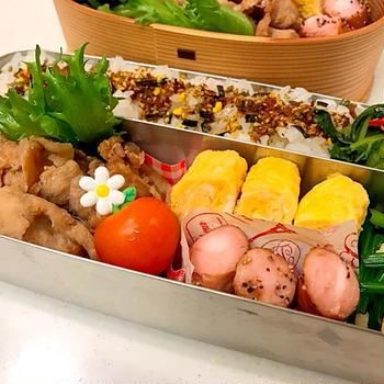生姜焼き弁当と里芋の竜田揚げ