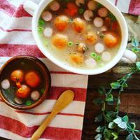 【簡単!野菜ジュースで】ほっこり♪カラフル白玉のバタースープ