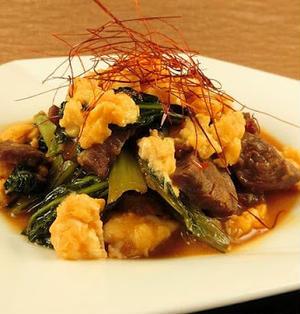 牛肉と小松菜の焼肉のたれを使ったごはんに合う炒めものレシピ
