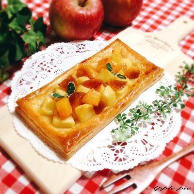 【レシピ】冷凍パイシートで林檎と柿のカスタードパイ♪