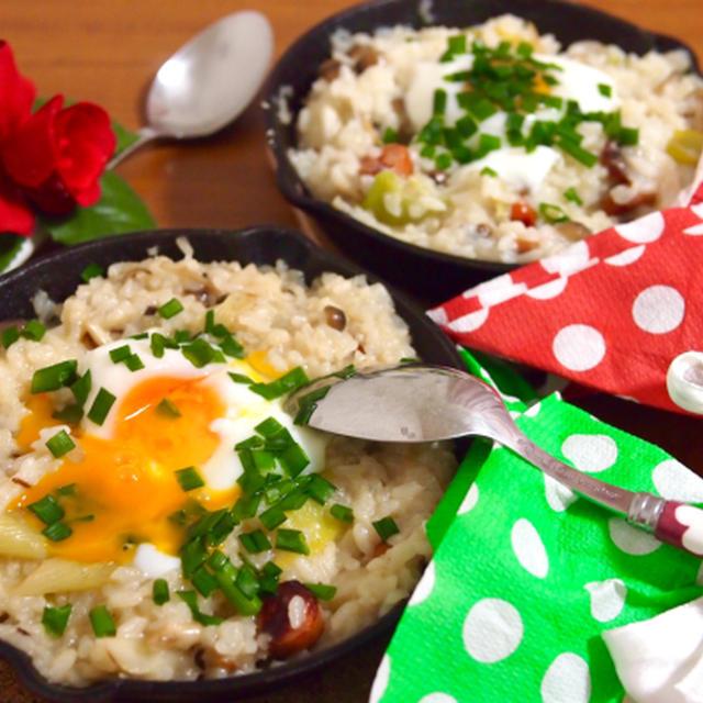簡単朝ごはん!ネギとしめじの和風チーズリゾットで「ブーケファスト」*スキレット朝食