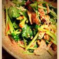 三つ葉と照り焼きチキンのマヨ麺つゆサラダ仕立て❤