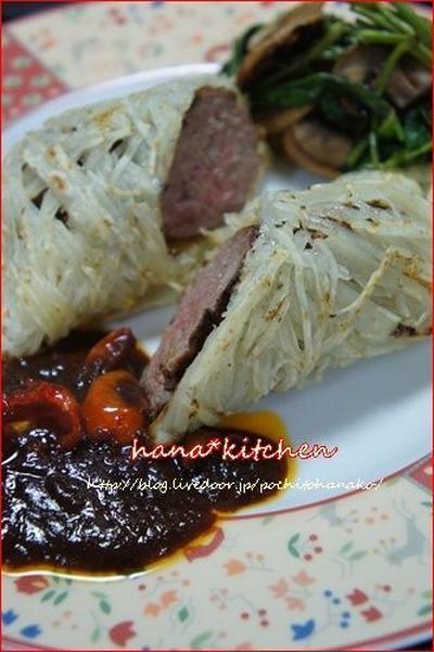 ハンバーグのポテト巻きレシピ。と、美味♪ハンバーグソース。