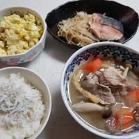 鮭の蒸し焼き 豚汁 時短簡単節約 8人大家族 手抜き夜ご飯
