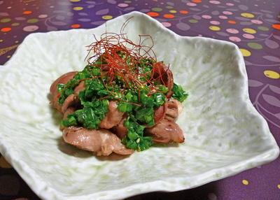 焼き砂肝のニラソース