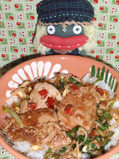 四川風ピリ辛焼き肉丼&ヒジキと牛蒡のサラダ(お家カフェ)
