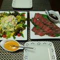 元気が出る手作りマヨネーズのサラダとローストビーフの夕食☆スパイスアンバサダー