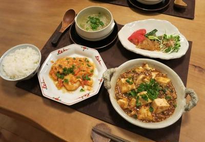 麻婆豆腐&エビチリの晩ご飯 と 桔梗の花♪