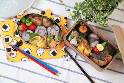 【親子弁】くるくる海苔巻きおにぎりと3種のおにぎり弁当