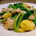 鶏と空芯菜 栗の炒め