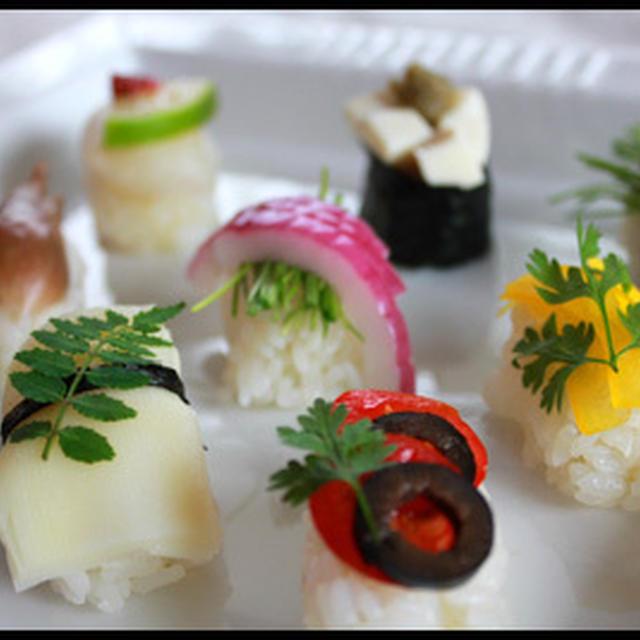 パーティーに♪カラフル野菜の握り寿司♪