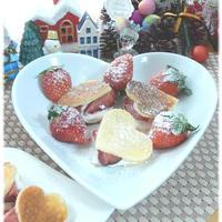 ケーキのようなホットケーキミックス☆ハート&いちごのミニホットケーキ♪