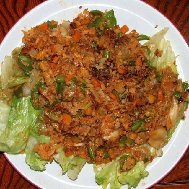 野菜たっぷりキムチ焼き飯は我が家の定番