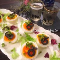 注目の和スパイスで!オシャレで簡単な前菜♪ 半熟ゆで卵とゆずこしょうとオリーブのアペティート