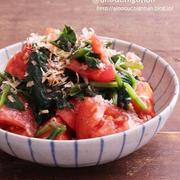 【レシピ】病みつき間違いなし♡トマトとほうれん草のおかかポン酢ナムル♡#ほうれん草 #トマト #鰹節 #ポン酢 #副菜