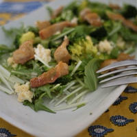 パリパリに焼いた鶏皮がおいしいサラダ。
