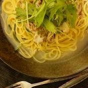 豚ばら肉と水菜のさっぱり和風だし:ワンポットパスタ