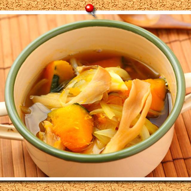 かぼちゃと舞茸の和風スープ。