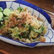 ゴーヤと舞茸の焦がしにんにく味噌炒飯