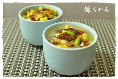 のっけてジュレ柚子胡椒ぽん酢でひんやりレンチン豆腐茶碗蒸し!