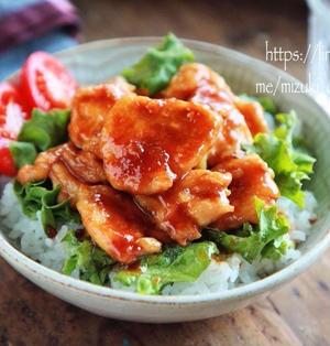 ♡しっとりやわらか♡鶏むね肉のマヨ生姜焼き丼♡【#簡単レシピ#節約#春休みランチ】