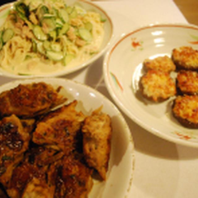 鶏ごぼうつくねの照り焼き+2品