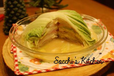 4人で材料費500円夕食♡レンチン簡単!白菜チーズ味噌ミルフィーユ