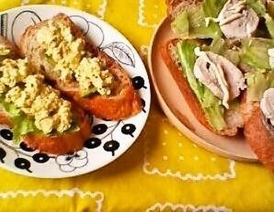 [パン][ヘルシー]豆腐とアボカドのオープンサンド、鶏ハム