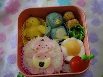 【キャラ弁】美人三姉妹コラボマッシュポテト&きよっぺちゃんの平面ベビーちゃん弁当
