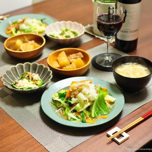 オットが最近購入した家着と家族が喜ぶうちの野菜炒めで晩ごはん