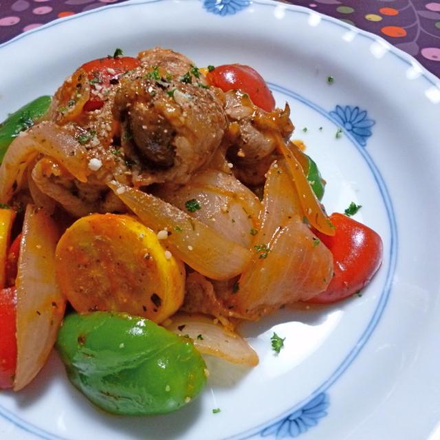 豚巻きマッシュルームと野菜のソテー