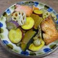 八方だし1本で味決まる!旬をいただく♡秋鮭と秋野菜の揚げびたし♪ by ハッピーさん