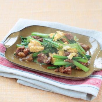 小松菜と焼き鳥の卵炒め