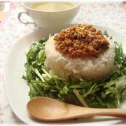 水菜と春菊のナムルdeタコライス風☆ワンプレートデッシュ♪
