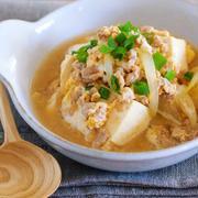 材料入れて煮るだけ5分♪めんつゆでラクラク♪『豆腐とひき肉の甘辛卵とじ』