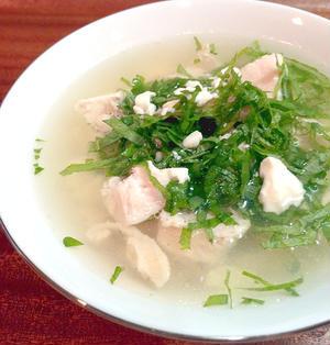 【大葉香る♪ゆで鶏とくずし豆腐の和風スープ】