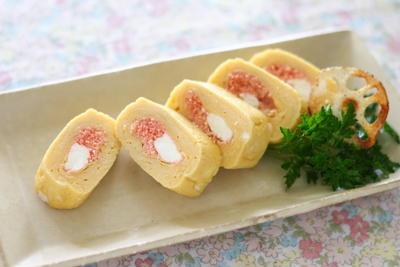 明太子とベビーチーズの卵焼き