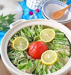 キャベツと豚バラの洋風トマトミルフィーユ鍋♪