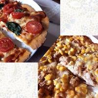【手作り】クリスピーなピザ*マルゲリータ&ツナマヨコーン*過熱水蒸気オーブンレンジ(2段同時調理)