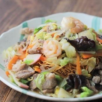 ■【ヤマキだし部】おだしの餡で野菜たっぷりぱりぱり皿うどん♪