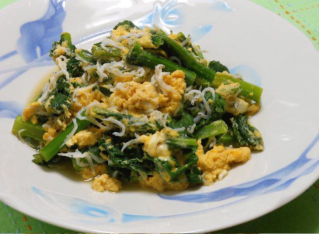 かき菜とシラスの卵とじ