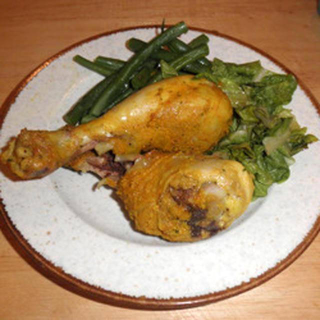 ひとりご飯は退屈 ~ 鶏ドラムスティックのカレー風味焼き