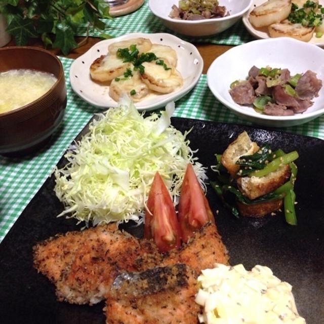 鮭のバジルフライ〜といろいろ晩ごはん♡…可哀想?